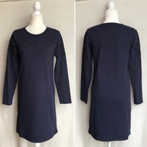 Boden Sweatshirt Dress with Embroidery in Navy